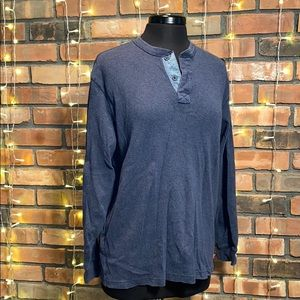Izod Luxury Sport Vintage Blue V Neck Long Sleeve